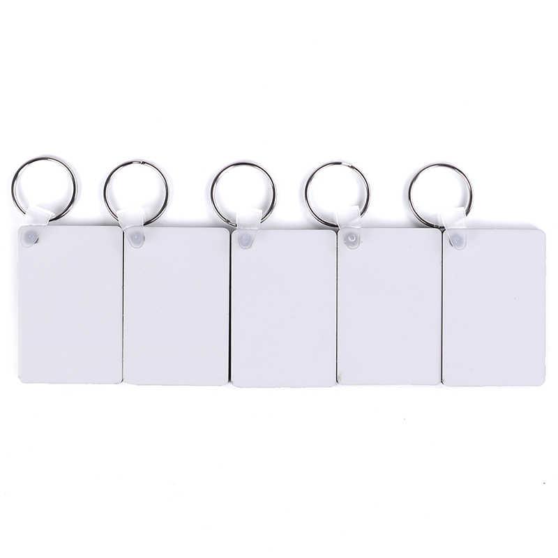 Llavero pintado de madera DIY, accesorios para regalo, rectangular, tabla MDF blanca, impresión por sublimación, llaveros 10 Uds