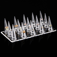 Wholesale 2pcs Acrylic Clear View Ring Jewelry Display Stand Holder With 15 Ring Holder Rack