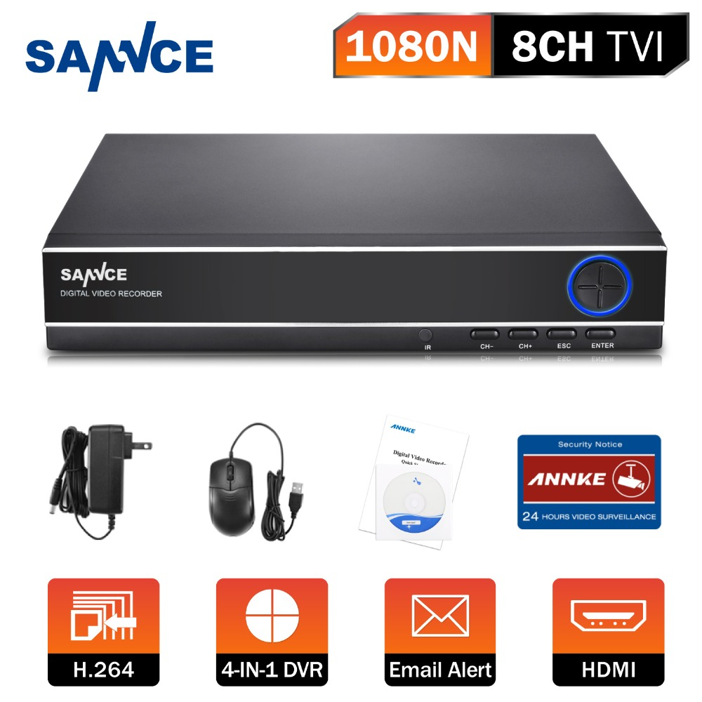 ФОТО New SANNCE 8CH 4IN1 1080N CCTV DVR Security System Full D1 H.264 HDMI p2p cloud Motion detecting remotephone Monitoring host