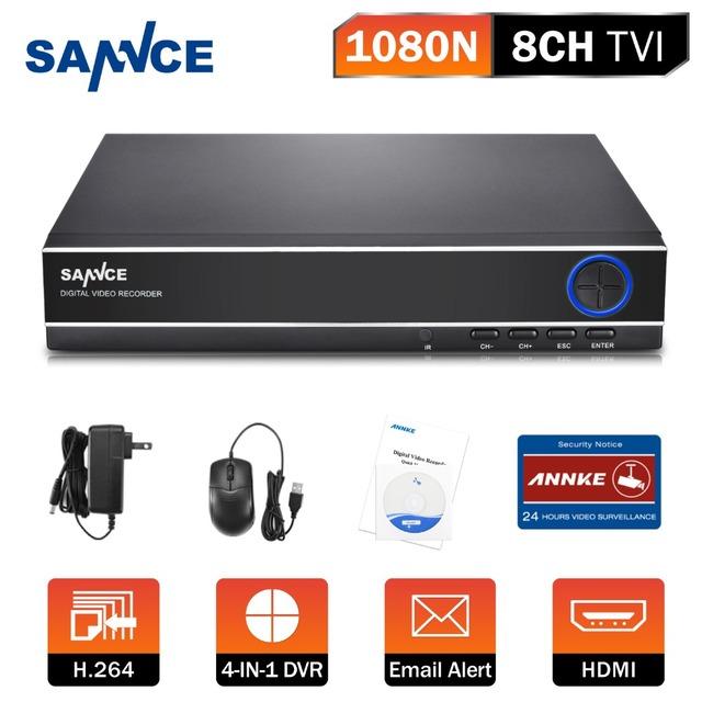 New sannce 4em1 1080n 8ch cctv sistema de segurança dvr full d1 h.264 hdmi p2p nuvem motion detectar remotephone host de monitoramento
