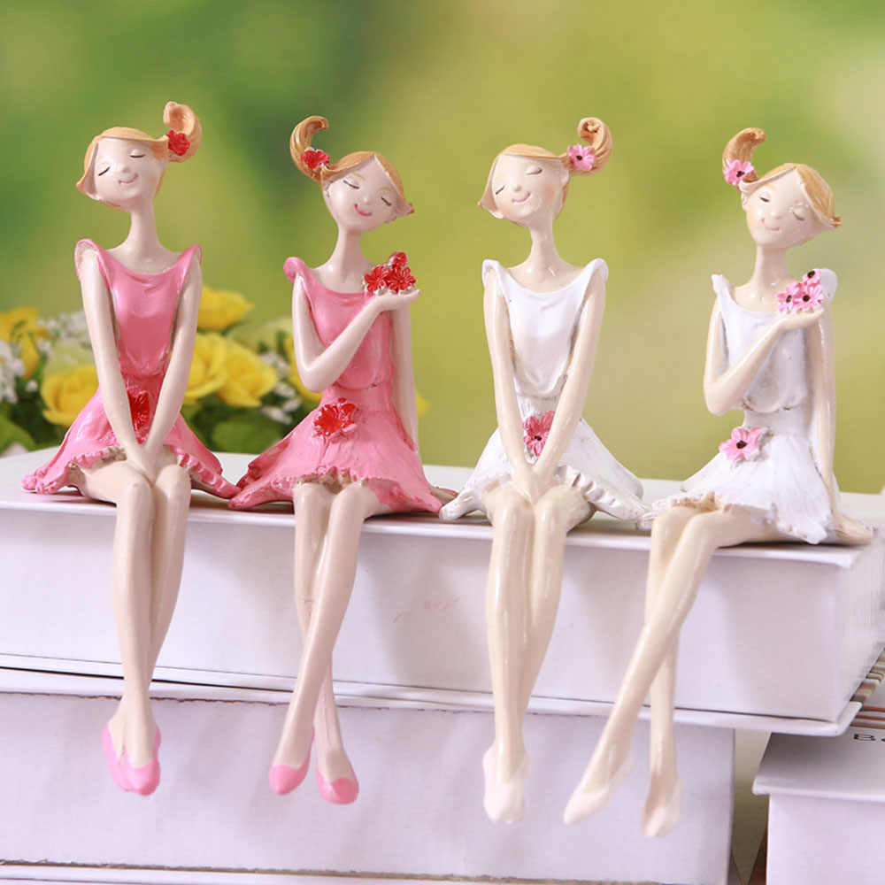 2pcs/set Figurines Beautiful Angel Resin Craft Fairy Figurines Wedding Gift Home Decoration