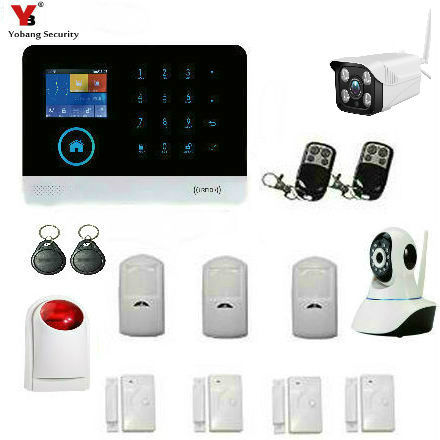 YobangSecurity Wifi Alarm System GSM Wireless Home Burglar Security System With Outdoor Flashing Siren Outdoor Indoor IP Camera yobangsecurity home gsm pstn alarm system 433mhz voice prompt lcd keyboard wireless alarma gsm with outdoor siren flash