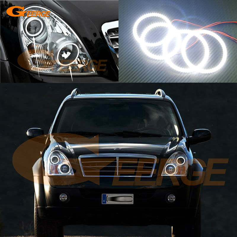 For Ssangyong Rexton 2006 2007 2008 2009 2010 2011 2012 Excellent led Angel Eyes Ultra bright smd led Angel Eyes Halo Ring kit