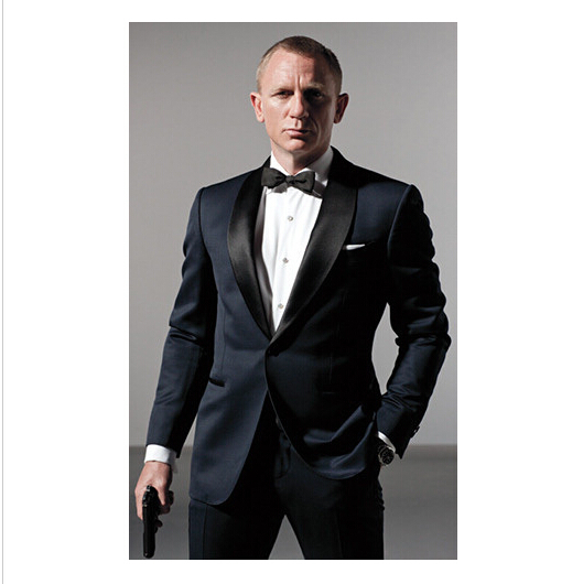 Classic Style Dark Blue Tuxedos Inspired By Suits Worn In James Bond Wedding Suit For Men Groom Jacket Pants Bow BLack