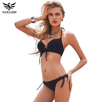 NAKIAEOI 2018 New Sexy Bikinis Women Swimsuit Push Up Swimwear Bandage Cut Out Bikini Set Halter Beach Bathing Suits Swim Wear