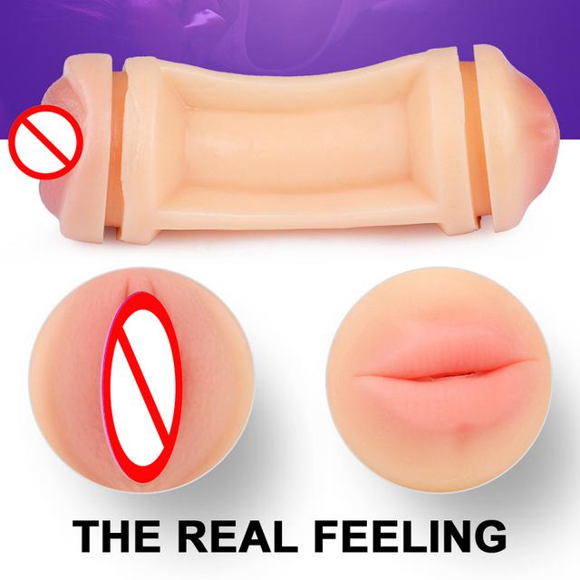 Maravilloso juguete sexual con doble vagina y la boca hombre masturbación