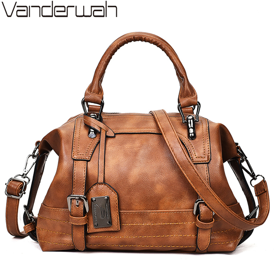 Women Bag Vintage Shoulder Bag Luxury Handbags PU Leather Crossbody Bags For Women 2019 Ladies Boston Casual Tote Bolsa Feminina
