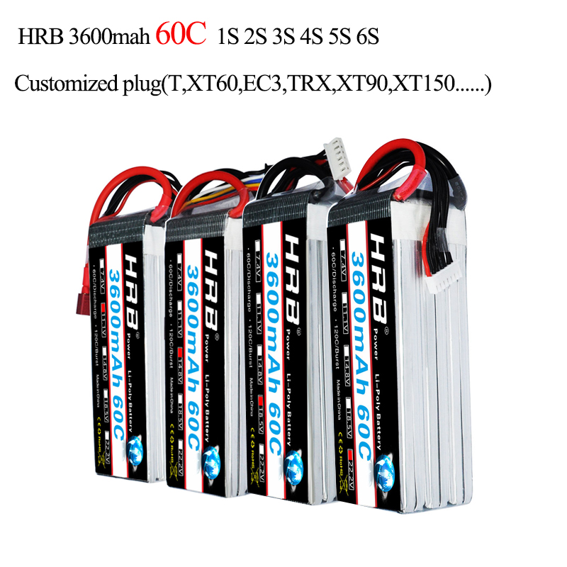 HRB Lipo 1S 2S 3S 4S 5S 6S Battery 3600mah 3.7V 7.4V 11.1V 14.8V 18.5V 22.2V 60C 120C Strap For Airplane Car Boat Airplane Quad image