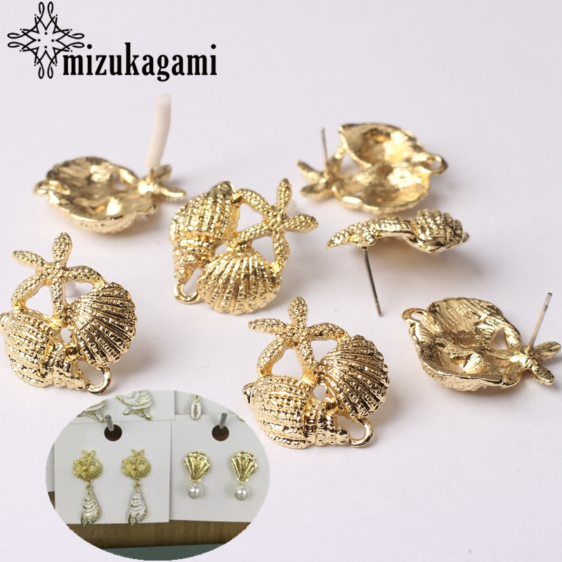 Zinc Alloy Golden Conch Starfish Shell Earrings Connector Linkers 6pcs For DIY Beach Drop Earrings Jewelry Making Accessories