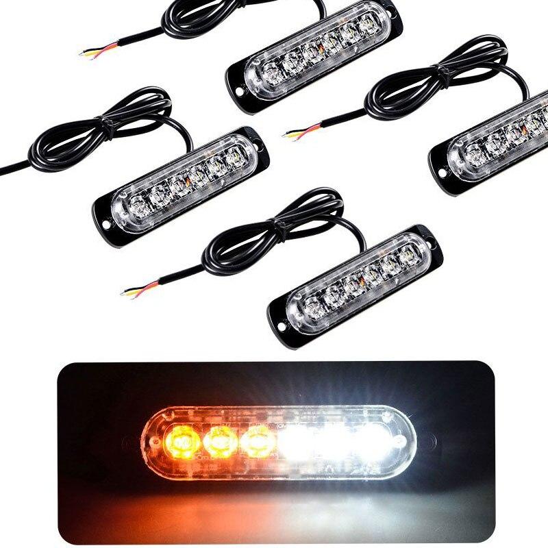 6 LED Car Emergency Beacon Light Bar 12V led Strobe light for Universal fit Hazard Truck Warning Light Bar Curren Fog Lights