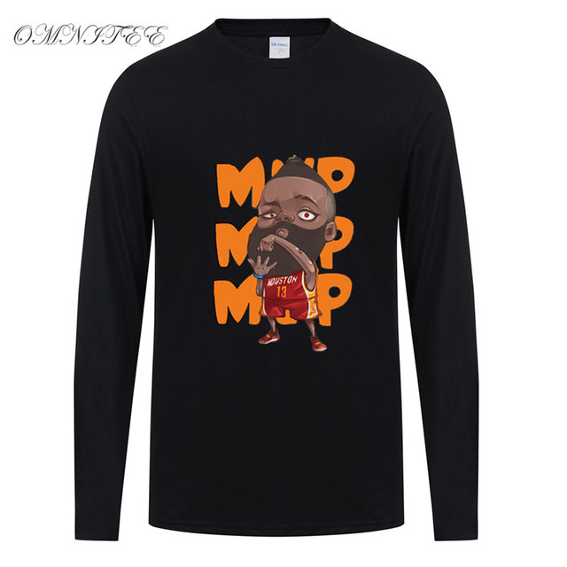 sports shoes 71326 65446 US $12.15 36% OFF Spring Autumn James Harden T Shirt Men Tee Shirt Cotton  Tees Top long Sleeve Tshirt Free Shipping -in T-Shirts from Men's Clothing  ...