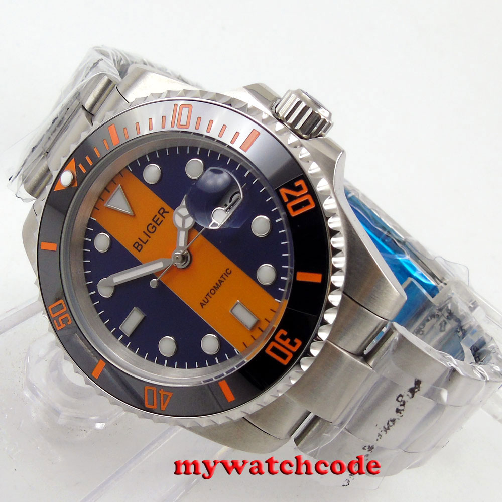 40mm Bliger orange blue dial sapphire crystal automatic movement womens watch119 цена и фото