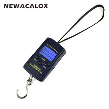 NEWACALOX 40kg x 10g Mini Digital Scale for Fishing Luggage Travel Weighting Steelyard Hanging Electronic Hook
