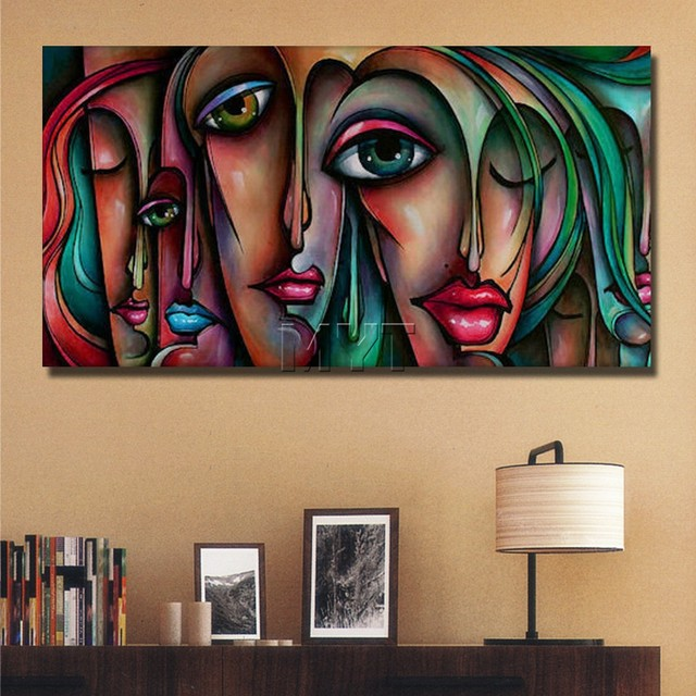 hand paint abstract faces nude girls sex picture oil painting modern home decorof nude photo women and anmal