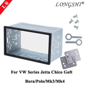 Podwójne 2 Din sprzętu samochodowe stereo ramka radiowa fascia dla VW serii Jetta Chico Golf Bora Polo MK3 MK4 zestaw samochodowy Stereo tanie i dobre opinie LONGSHI Blendy 0 32kg 2DIN 12cm LSISOVW037 Iso9001 10cm 19cm Iron 18 2x11 1x10cm(7 2x4 4x3 9inch)(LxWxD) 18x11cm(7 1x4 3inch)(LxW)