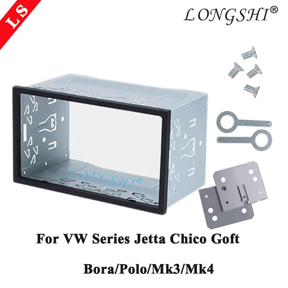 Vw 시리즈 jetta chico golf bora/polo/mk3/mk4 차량용 키트 스테레오 용 double 2 din 하드웨어 카 스테레오 라디오 근막 프레임