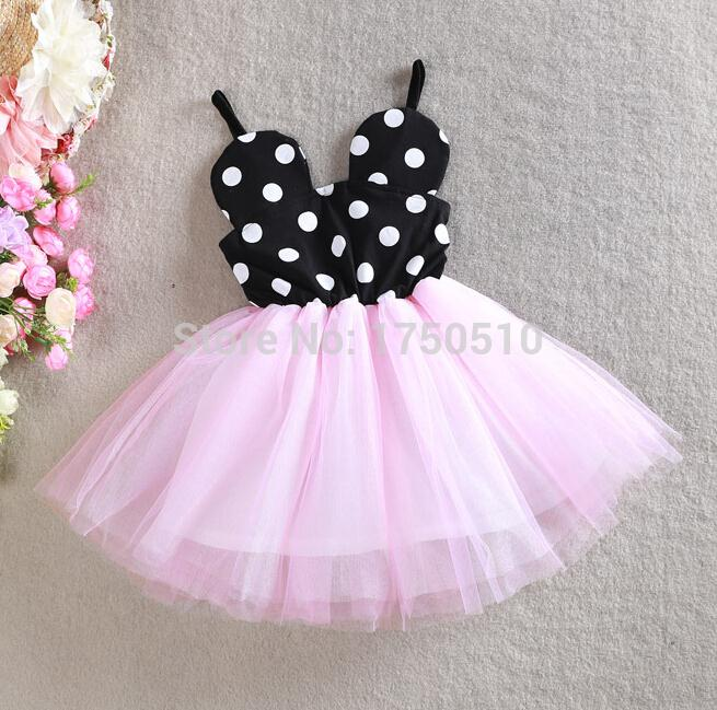 2015 New girls summer minnie mouse dress kids lovely printed dot ...