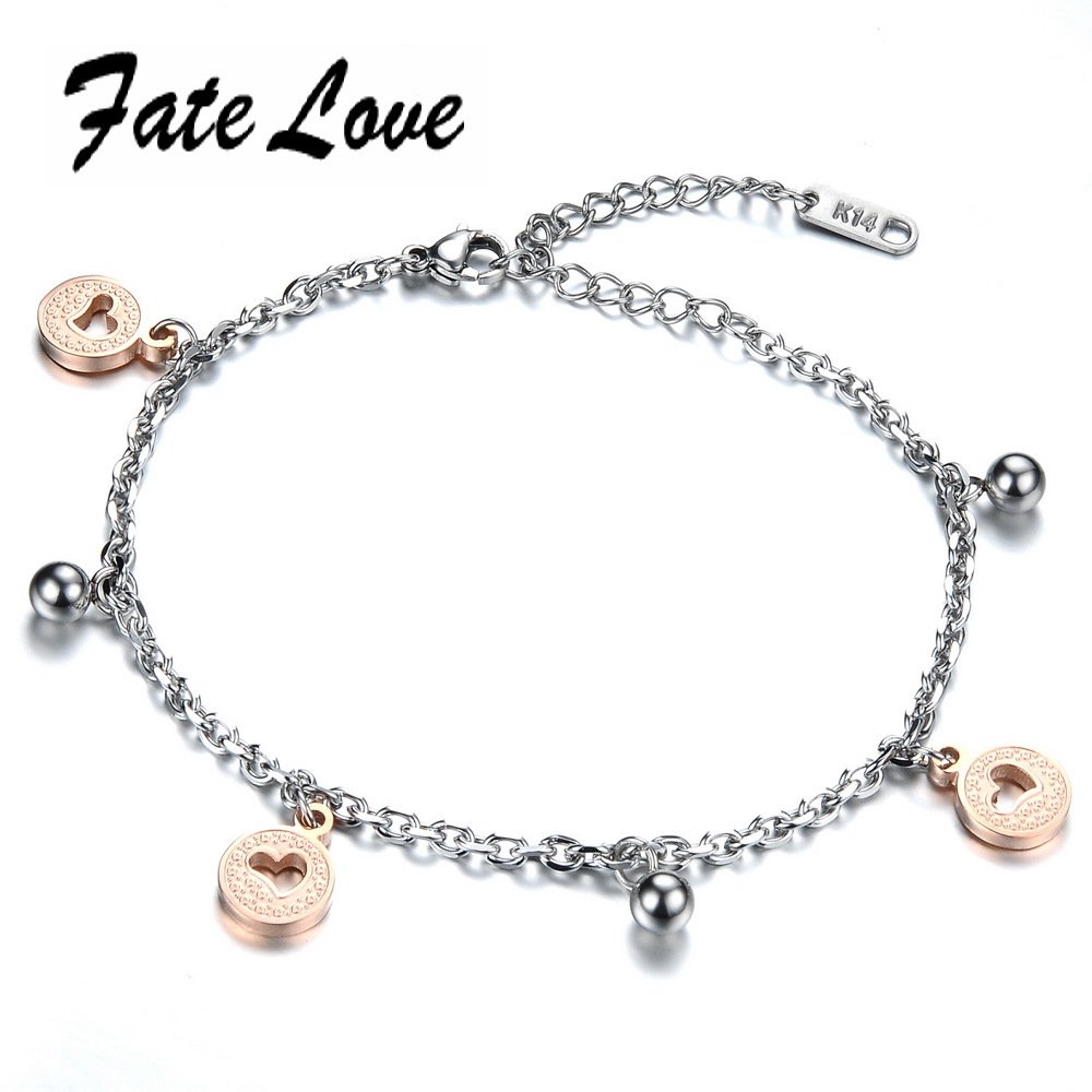 Beautiful Design Candy Bracelet Stainless Steel Bangle Hollow Heart Bell Charm Bracelet with Beautiful Gift Bag FL777