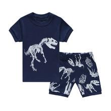 Купить с кэшбэком 2019 Fashion Boys Pajamas Suit Summer Children Dinosaur Baby Sleepwear Baby Boy's Clothes 100% Cotton Tee shirt Short Pants Soft