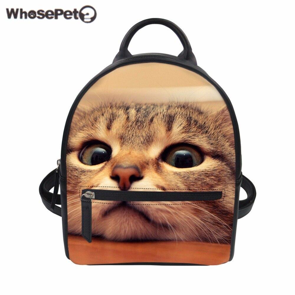 WHOSEPET femmes sac à dos mignon chat 3D impression sac PU cuir dames sac à dos adolescent filles école sac femme voyage sac Mochila