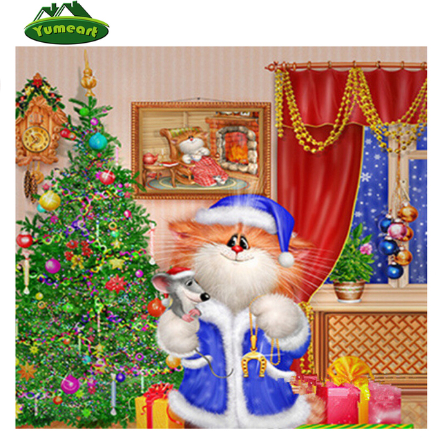 Вышивка Cross diamond Вышивка Merry Новогодние товары Кот Сделай Сам алмаз живопись рукоделие квадратных горный хрусталь вставить декоративная