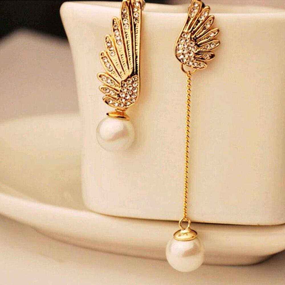 Tomtosh 2016 Elegant Gold Asymmetric Double Angel Wings Stud Earrings Long Pearl Earrings For Women Pendientes Jewelry