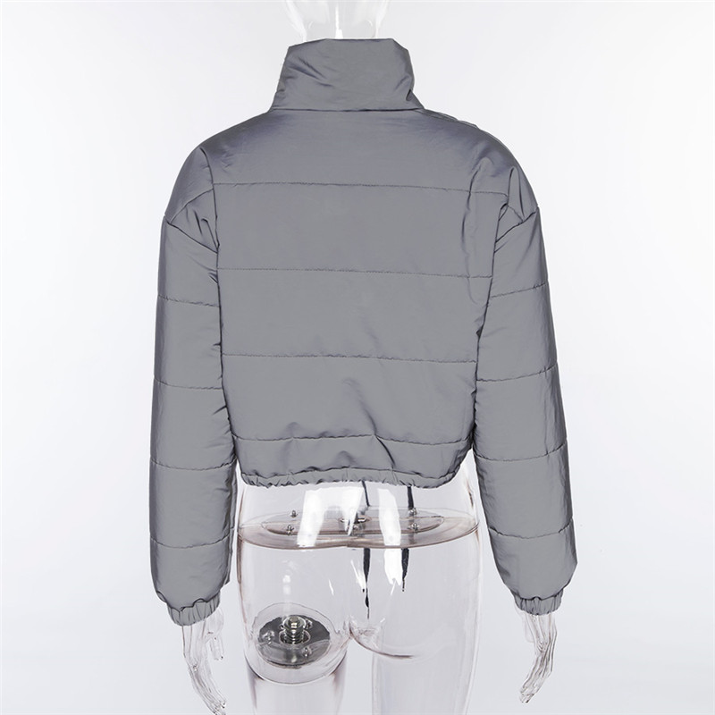 Dulzura flash reflective women padded jacket short tops warm 18 autumn winter solid zipper oversize loose outwear coats casual 21