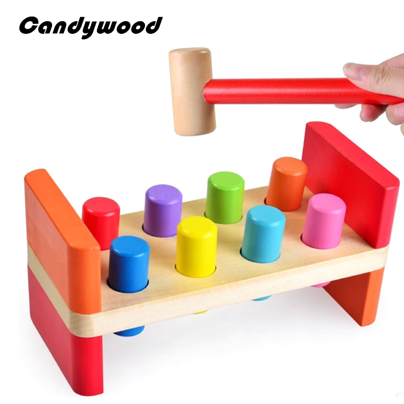 Baby Wooden Toy B Colorful Cylinder Beat Tap Pile Station Color Cognition Kids Educational Toy cognition