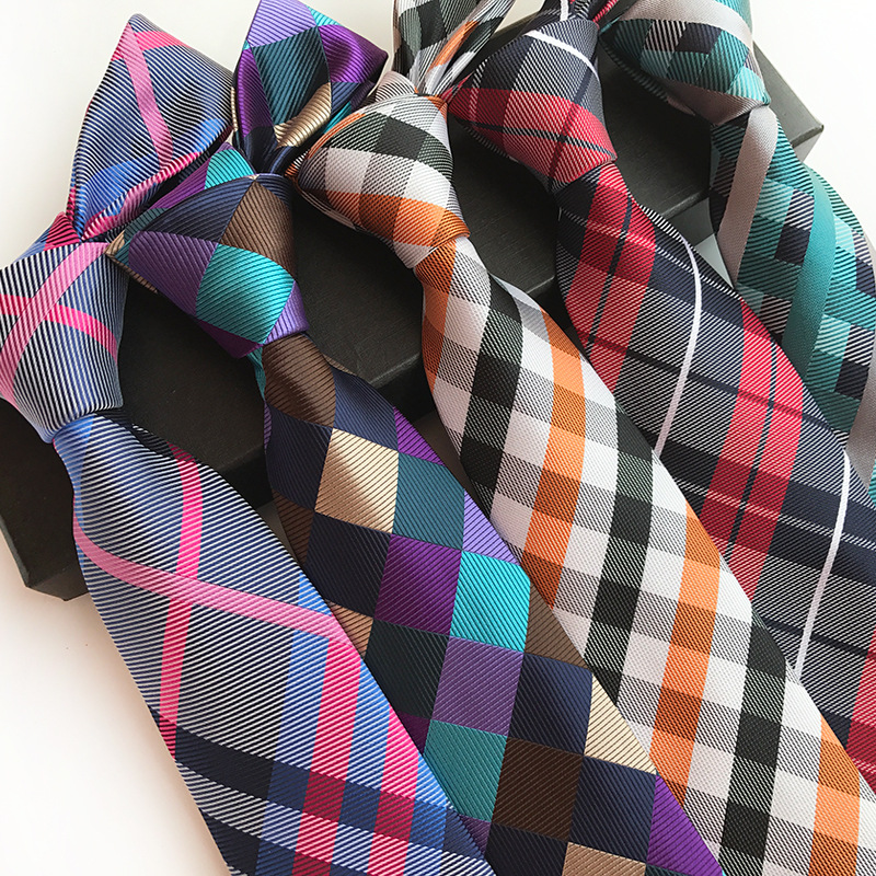 New Luxury Silk Jacquard 8 Cm Fashion Plaid Tie Suit Business Neck Tie Corbatas Gravata Wedding Party Gift For Man