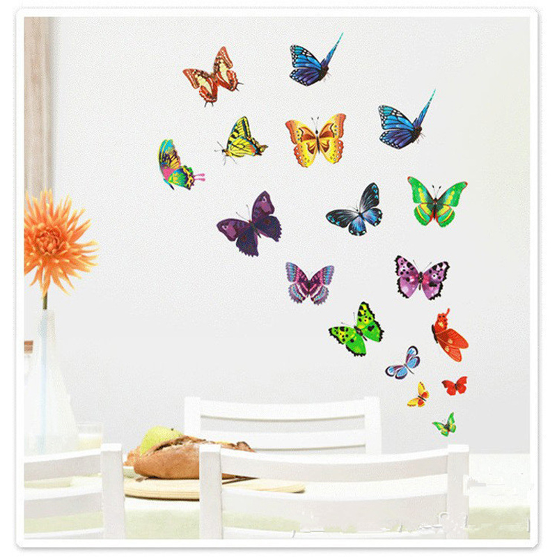 17pcs lot 3d colorful butterfly sticker home wall for Diy colorful wall art