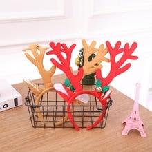 Повязка на голову с оленем, рога, косплей, рога, Рождественские оленьи уши, повязка на голову, рога, обруч для волос аксессуары для взрослых детей, Navidad