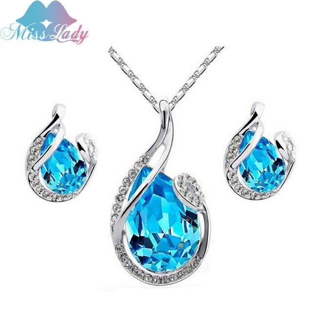 Hoa hậu Quý Bà Áo Water Crystal Drop Bạc màu Pendant NecklacesEarring Bridal Trang Sức Cưới Bộ Phụ Kiện MLJG210