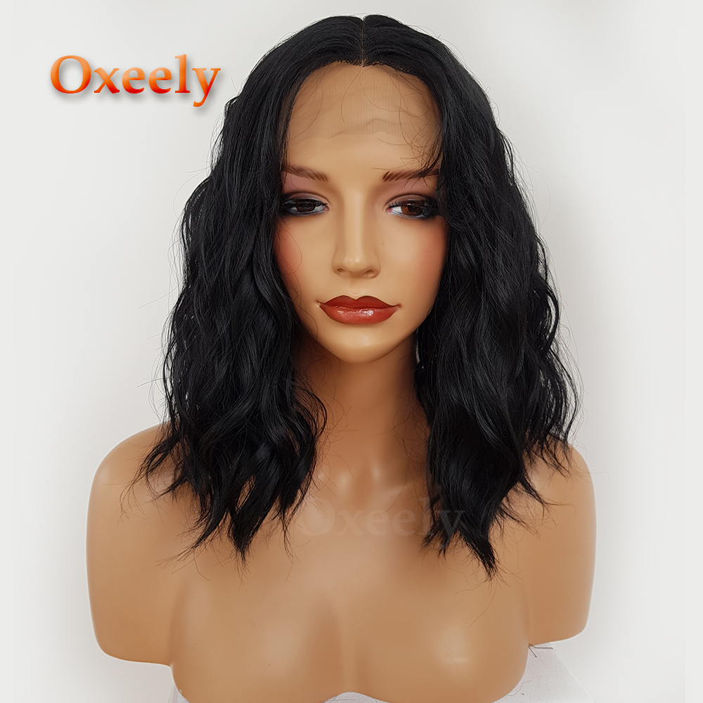 Oxeely 12 Inches Synthetic Lace Front Fiber Bob Wigs Wave Hair Wigs Short BOB Natural Wave Wig Heat Resistant for Women
