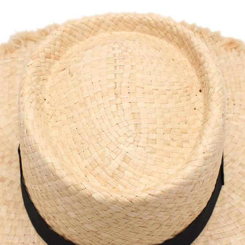 الجملة الجديدة حزام الرافية سترو الصيف الشمس قبعة واقية للنساء سيدة طوي قبعة الموضة اليدوية واسعة حافة بنما قبعة للشاطئ