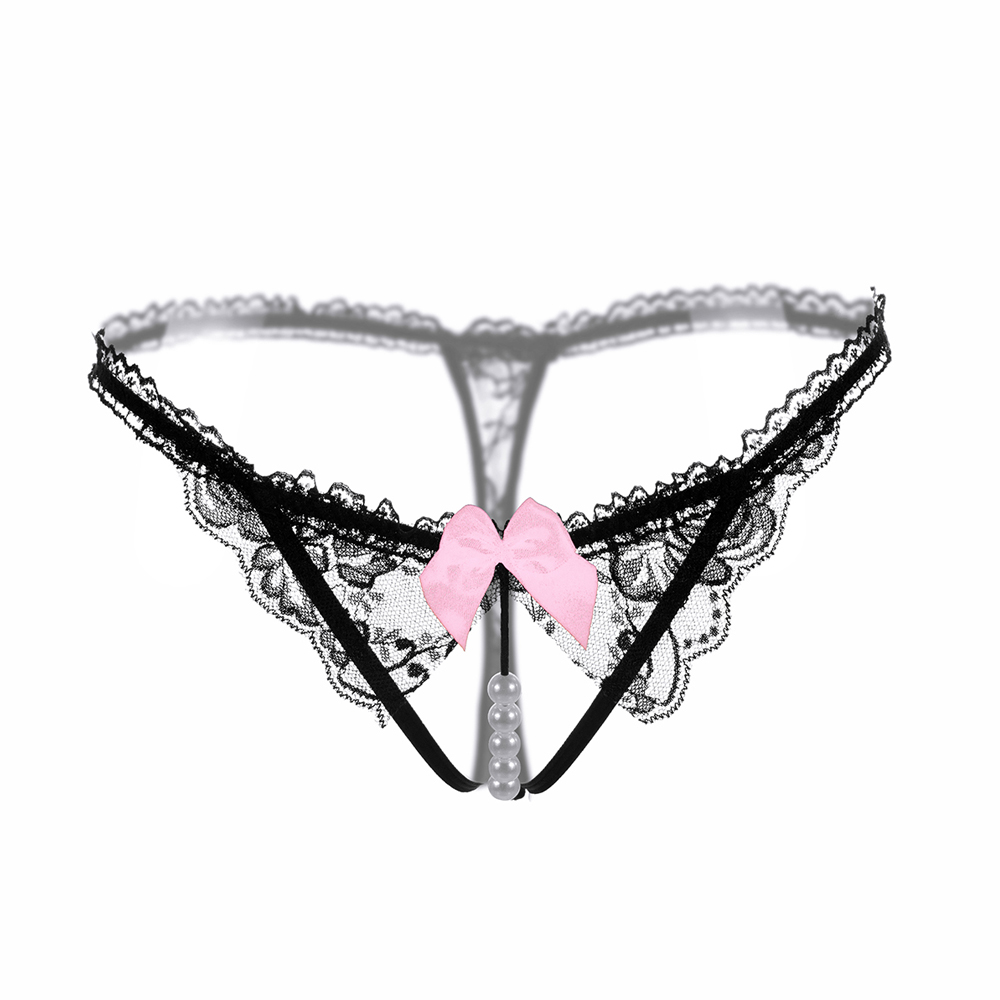 Exotic Underwear Hips Temptation Sexy Lace Women G-String Girls Cute Bowknot Low Waist Pearl Thongs Briefs
