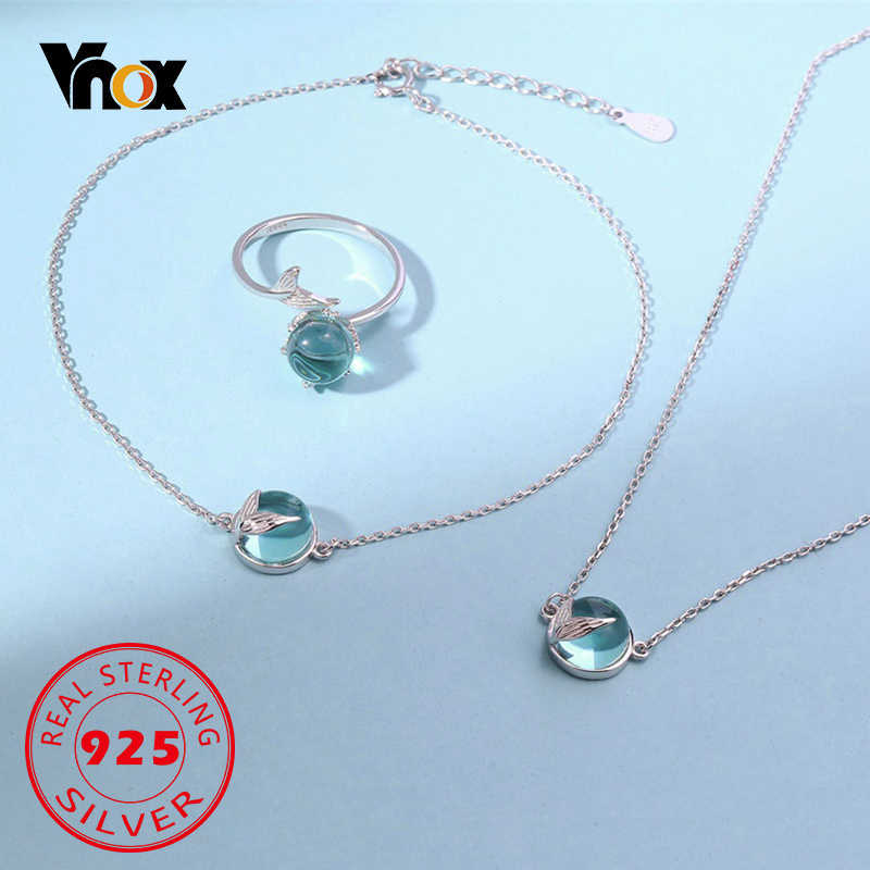 Vnox Mermaid Foam Tail Women Jewelry Set Romantic Fairy Tale 925 Sterling Silver Ring Anklet Necklaces Clear Bubble Accessory