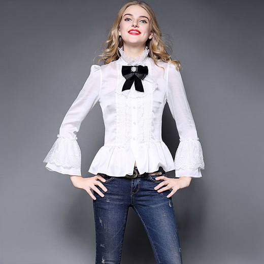 Compare Prices on Women White Bow Tie Blouse- Online Shopping/Buy ...
