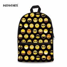 Instantarts Симпатичные emoji рюкзак Для женщин рюкзак Мода Дети Холст Школьные сумки смайлик Уход за кожей лица Повседневное дорожная сумка для ноутбука