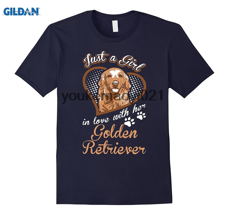 GILDAN Just A Girl In Love With Her Golden Retriever Dog TShirt