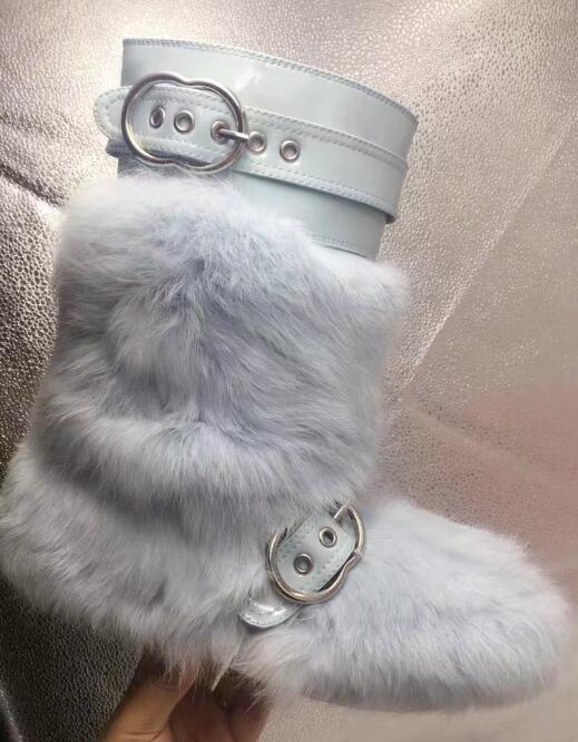 Wohnung Fur black Kaninchenfell Mid Oder Fuchspelz Frauen Schnalle rot Fox Fur Schwarz Marke Red 35 Winter Fur 2017 Größe 41 Wade Stiefel Rabbit rabbit Leder hellblau Patent Kurze 7wO8nB