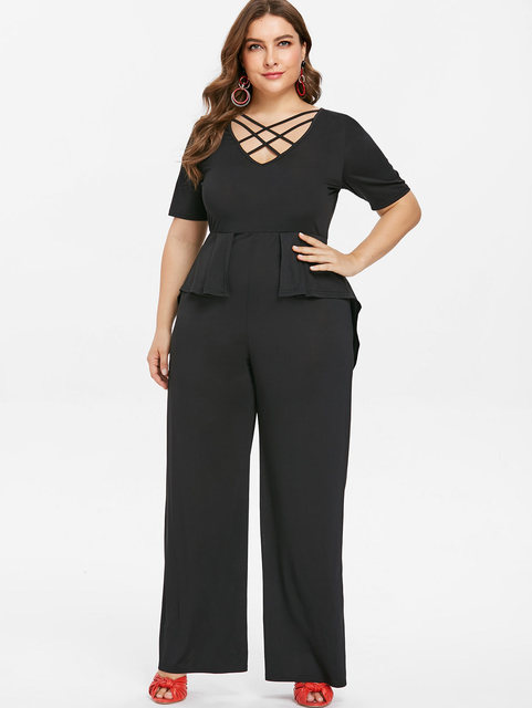 2bfb11e16de Wipalo Plus Size 5XL V Neck Wide Leg Pants Elegant Jumpsuit Women Black  Short Sleeve Overlay