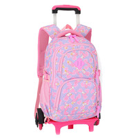 Triple Wheels Trolley School Bag For Girls Portable Detachable Backpacks For Children Alloy Rod Bags wheeled mochila