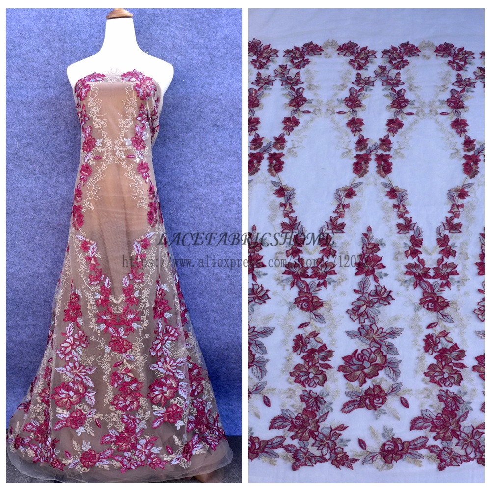 New Wine Purple Mixed Colour Embroidered On Tulle Mesh Lace Fabric Wedding Evening Dress 51 Width 1 Yard Whole