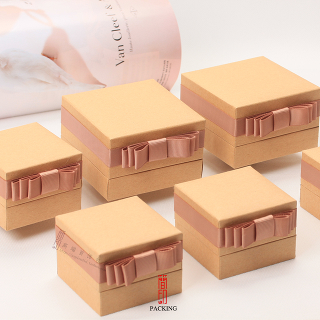 2017 Autumn New Jewelry Boxes Natural Kraft case Kraft Paper Packing