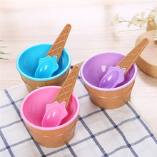 Children's Tableware Food Containers Cups Cream Bowls Spoons Dinnerware Kids Dishes Solid Feeding Baby Bowls Plates Ice