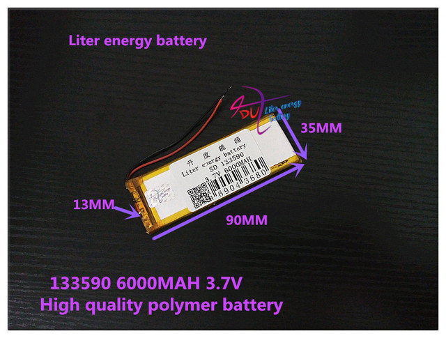 3.7V 6000mAH 133590 Polymer lithium ion / Li-ion battery for tablet pc mp3 mp4 POWER BANK DVR