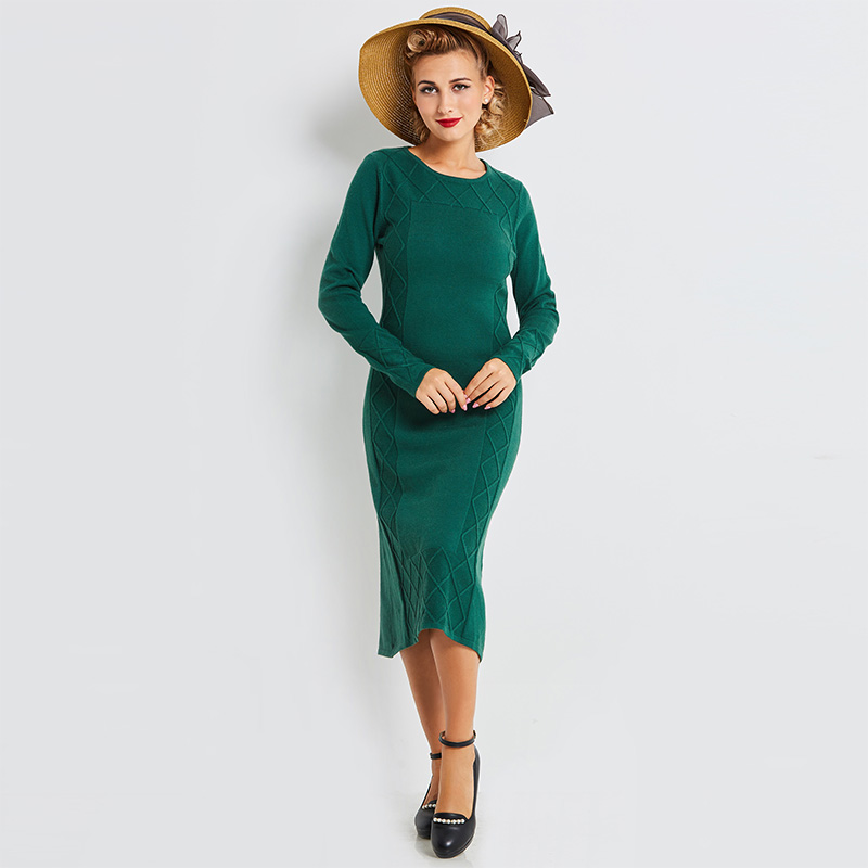 Sisjuly Autumn Women Solid Green Sweater Dresses Pullover Mid Calf Party Dress Full Sleeve O Neck Fall Sheath Bodycon Dresses