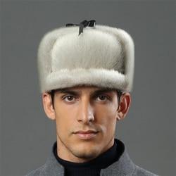 IANLAN Deluxe Мужская меховая шапка-бомбер в русском стиле с натуральным морским львом, шапка-бомбер с натуральным мехом морского льва, одноцветн...