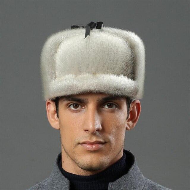 IANLAN Deluxe Men Russian Style Real Sea-Lion Fur Bomber Hat Full-pelt  Sea-Lion Furskin Peaked Caps Solid Winter Hat Cap IL00244 c354c86050ef