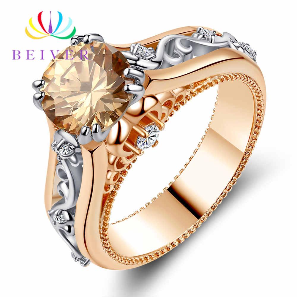 Beiver רומנטי דקורטיבי דפוס עלה זהב טבעת באיכות גבוהה AAA + שמפניה מעוקב Zirconia אירוסין מתנה עבור נשים